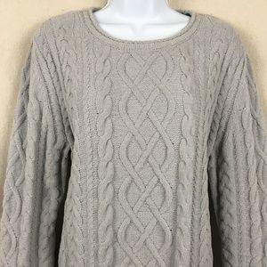 J. JILL Cable knit Chenille Popover sweater LP